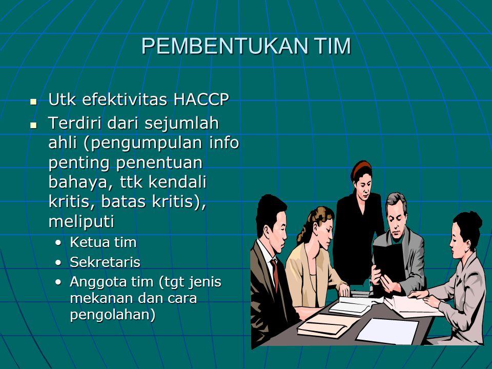 PEMBENTUKAN TIM  Utk efektivitas HACCP  Terdiri dari sejumlah ahli (pengumpulan info penting penentuan bahaya, ttk kendali kritis, batas kritis), me