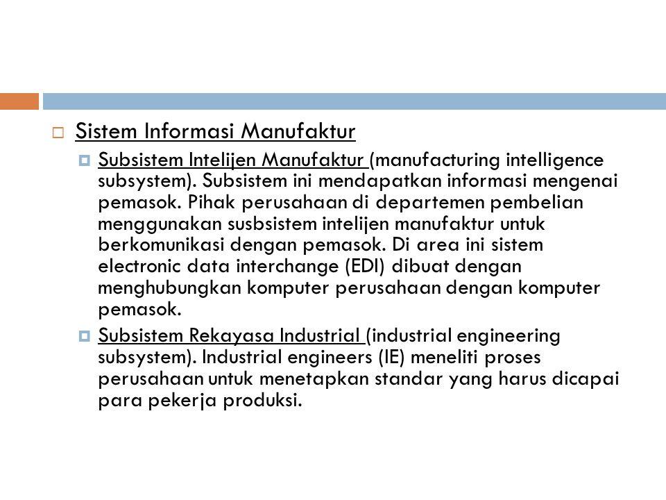  Sistem Informasi Manufaktur  Subsistem Intelijen Manufaktur (manufacturing intelligence subsystem). Subsistem ini mendapatkan informasi mengenai pe