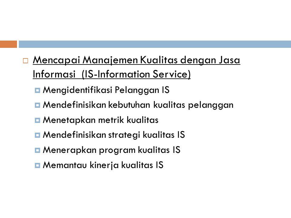  Mencapai Manajemen Kualitas dengan Jasa Informasi (IS-Information Service)  Mengidentifikasi Pelanggan IS  Mendefinisikan kebutuhan kualitas pelan