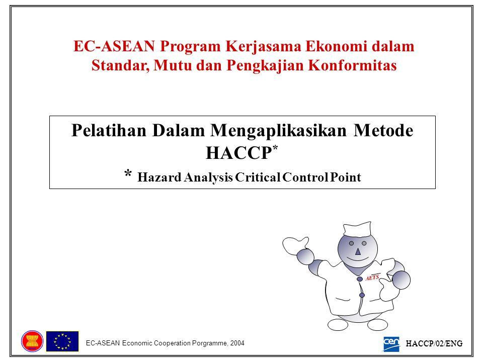 HACCP/02/ENG EC-ASEAN Economic Cooperation Porgramme, 2004 Bahaya BIOLOGIS KIMIAWI FISIK Berbagai Virus Kapang dan racunnya Bakteri Patogen Protozoa Residu obat-obatan untuk hewan dan pestisida Produk beracun (pestisida, asam…) Pencemar (logam berat…) Benda Asing: pasir, kerikil, logam, kayu… Gelas beling, serpihan logam dari mesin dan peralatan