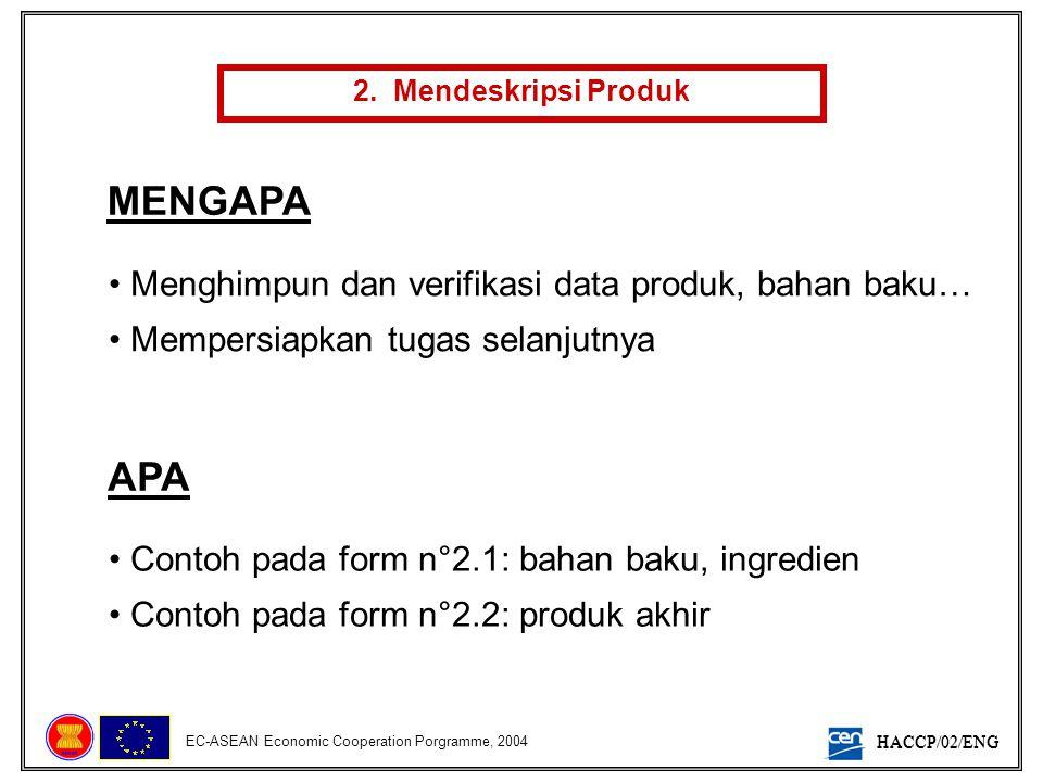 HACCP/02/ENG EC-ASEAN Economic Cooperation Porgramme, 2004 2. Mendeskripsi Produk MENGAPA • Menghimpun dan verifikasi data produk, bahan baku… • Mempe
