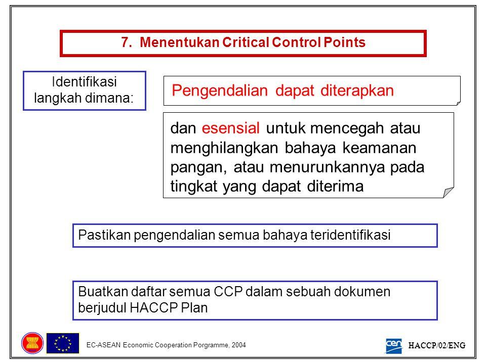 HACCP/02/ENG EC-ASEAN Economic Cooperation Porgramme, 2004 7. Menentukan Critical Control Points Identifikasi langkah dimana: Pengendalian dapat diter