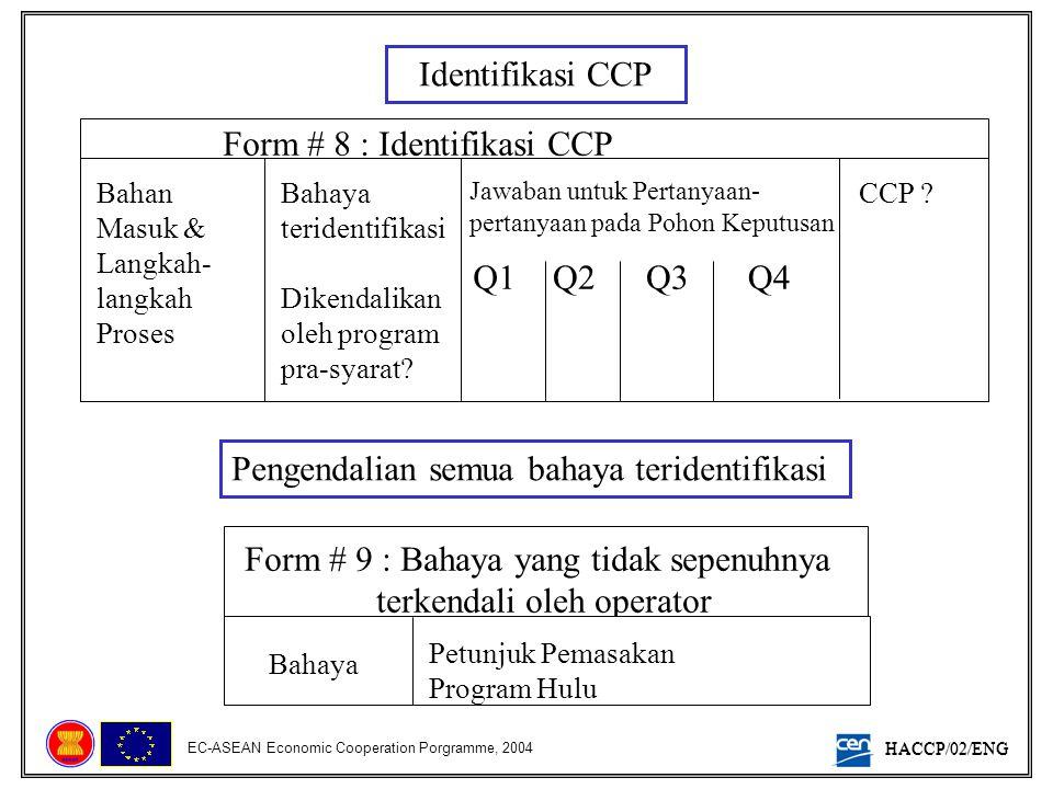 HACCP/02/ENG EC-ASEAN Economic Cooperation Porgramme, 2004 Identifikasi CCP Form # 8 : Identifikasi CCP Bahan Masuk & Langkah- langkah Proses Bahaya t