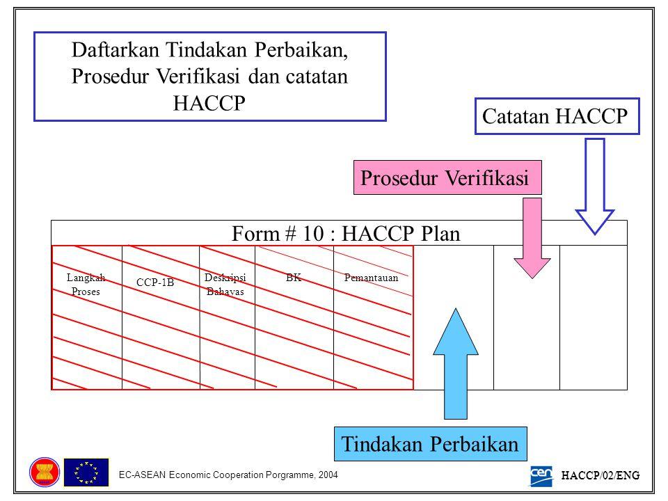 HACCP/02/ENG EC-ASEAN Economic Cooperation Porgramme, 2004 Daftarkan Tindakan Perbaikan, Prosedur Verifikasi dan catatan HACCP Form # 10 : HACCP Plan