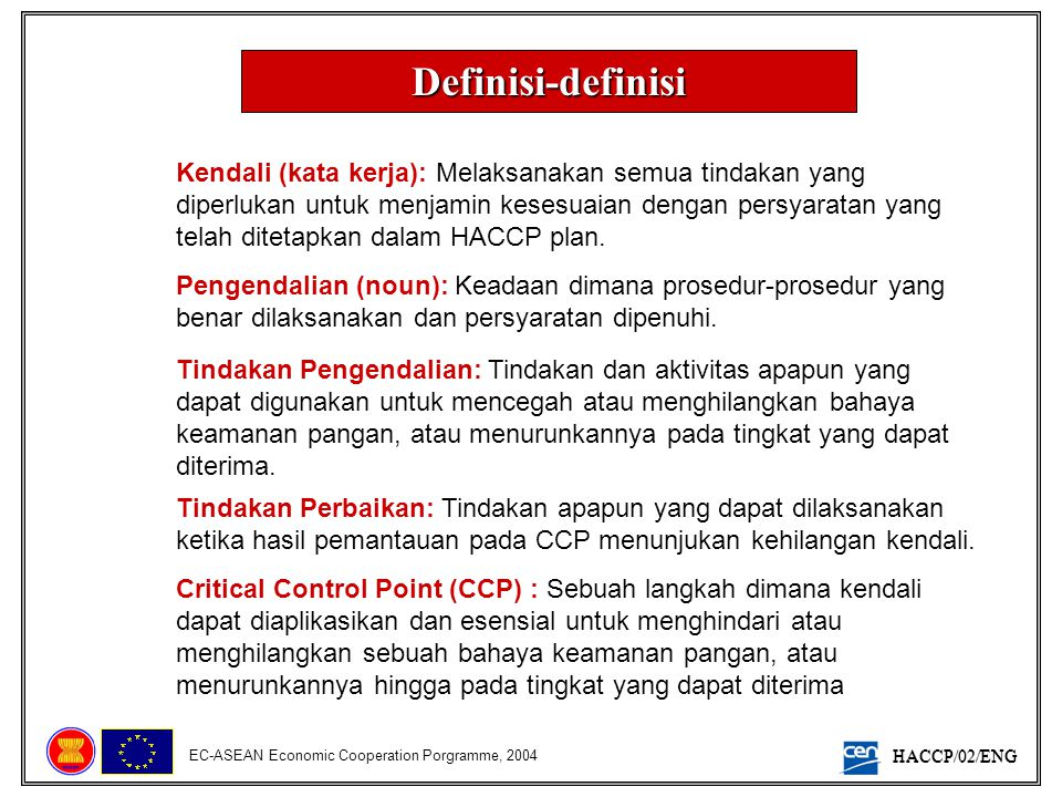 HACCP/02/ENG EC-ASEAN Economic Cooperation Porgramme, 2004 Batasan Kritis: Sebuah syarat yang membedakan antara penerimaan dengan penolakan.