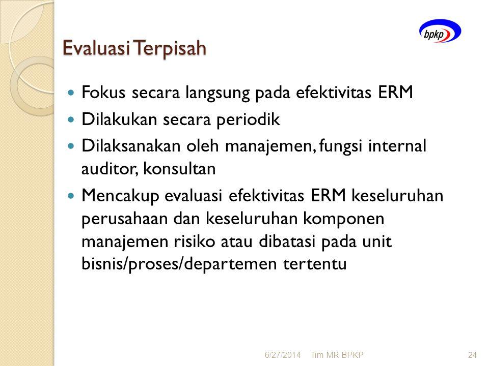 Evaluasi Terpisah  Fokus secara langsung pada efektivitas ERM  Dilakukan secara periodik  Dilaksanakan oleh manajemen, fungsi internal auditor, kon