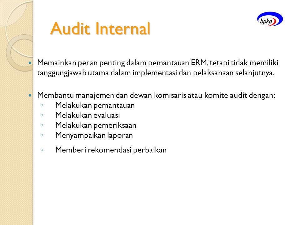 Audit Internal  Memainkan peran penting dalam pemantauan ERM, tetapi tidak memiliki tanggungjawab utama dalam implementasi dan pelaksanaan selanjutny