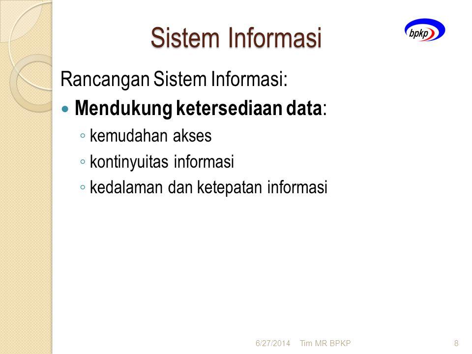 Sistem Informasi Rancangan Sistem Informasi:  Mendukung ketersediaan data : ◦ kemudahan akses ◦ kontinyuitas informasi ◦ kedalaman dan ketepatan info