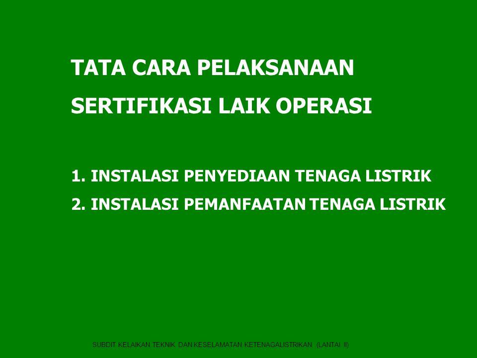 SERTIFIKASI INSTALASI KONSUMEN TEGANGAN RENDAH (RUMAH TANGGA) •Dilakukan oleh Lembaga Inspeksi Teknik Nirlaba yang ditunjuk oleh Menteri ESDM berdasarakan Kepmen ESDM No.1109K/30/MEM/2005 tentang penunjukan KONSUIL sebagai lembaga pemeriksa instalasi pemanfaatan konsumen tegangan rendah •Lembaga Inspeksi Teknik yang di Tunjuk : KONSUIL (Komite Nasional Keselamatan Untuk Instalasi Listrik) •Tugas : Melaksanakan pemeriksaan instalasi pemanfaatan tenaga listrik konsumen tegangan rendah dan menerbitkan Sertifikat Laik Operasi •Cakupan : Instalasi pemanfaatan konsumen tegangan rendah daya 450 s.d 197 kVA