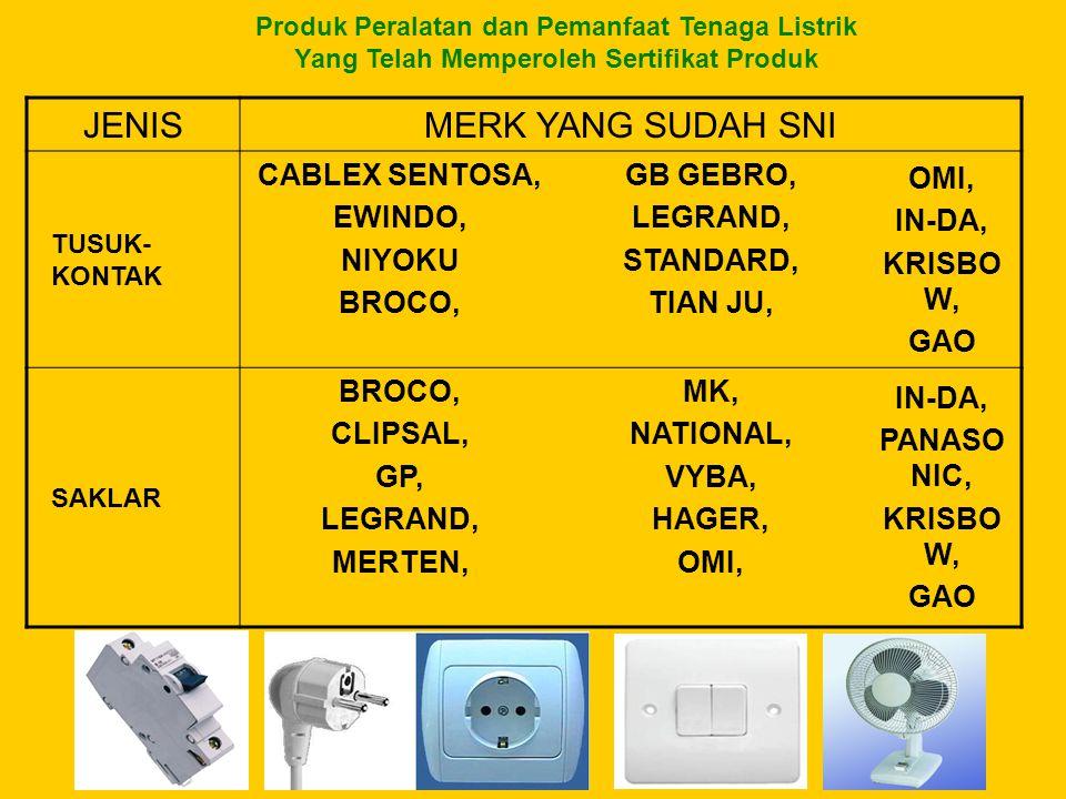 Produk Peralatan dan Pemanfaat Tenaga Listrik Yang Telah Memperoleh Sertifikat Produk JENISMERK YANG SUDAH SNI TUSUK- KONTAK CABLEX SENTOSA, EWINDO, N