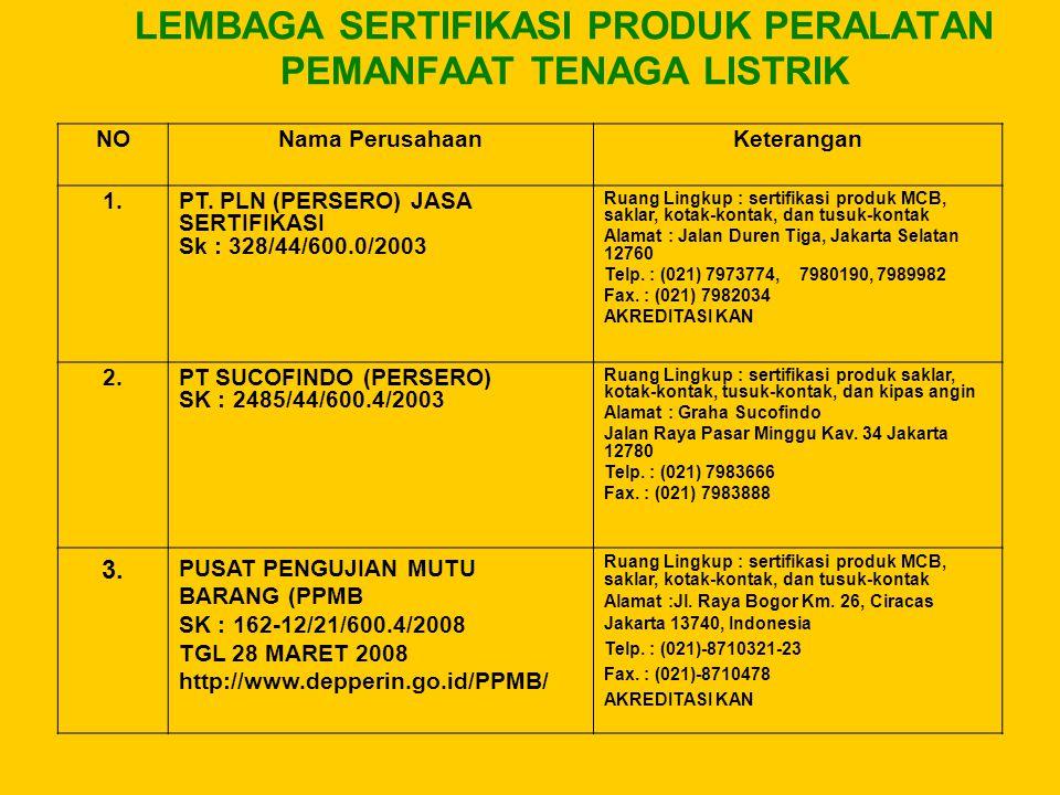 LEMBAGA SERTIFIKASI PRODUK PERALATAN PEMANFAAT TENAGA LISTRIK NONama PerusahaanKeterangan 1.PT. PLN (PERSERO) JASA SERTIFIKASI Sk : 328/44/600.0/2003