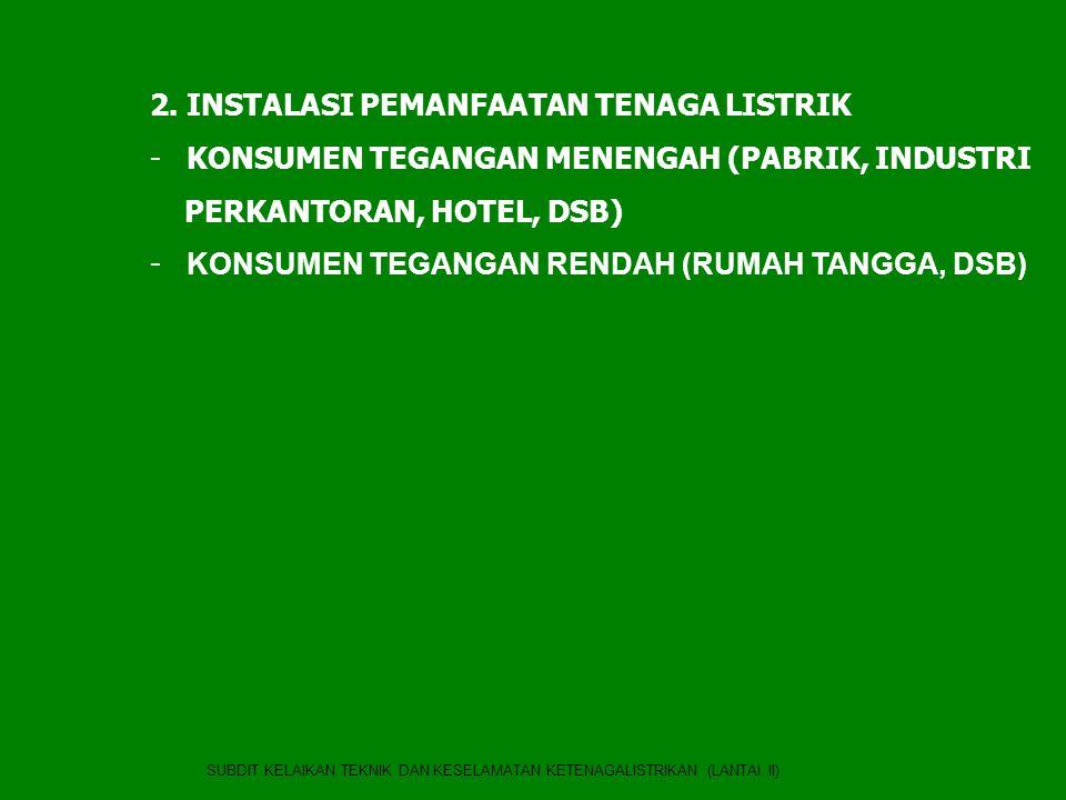 SUBDIT KELAIKAN TEKNIK DAN KESELAMATAN KETENAGALISTRIKAN (LANTAI II) 2. INSTALASI PEMANFAATAN TENAGA LISTRIK - KONSUMEN TEGANGAN MENENGAH (PABRIK, IND