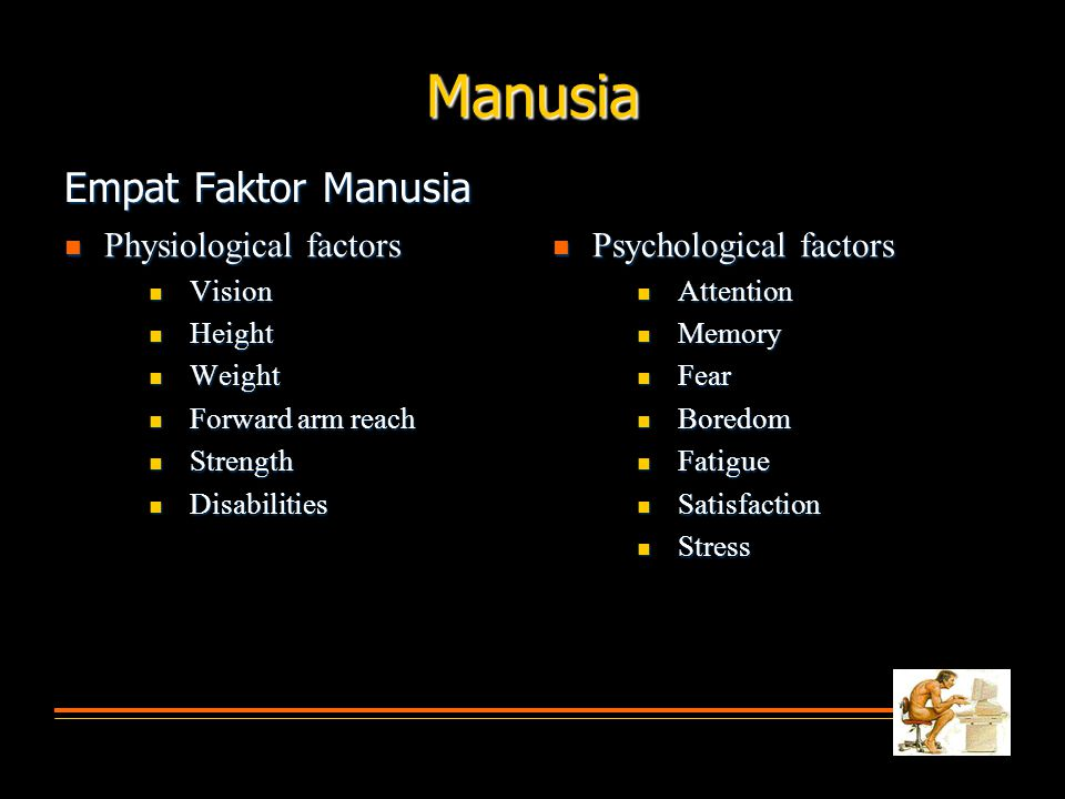 Empat Faktor Manusia  Physiological factors  Vision  Height  Weight  Forward arm reach  Strength  Disabilities  Psychological factors  Attention  Memory  Fear  Boredom  Fatigue  Satisfaction  Stress Manusia