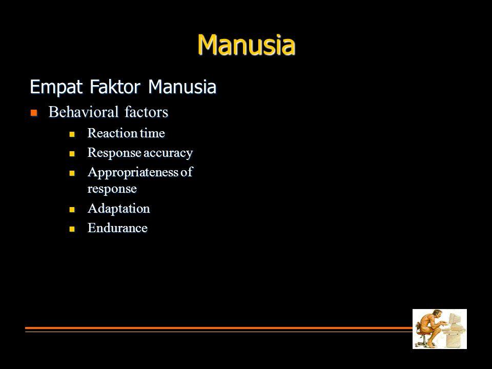  Behavioral factors  Reaction time  Response accuracy  Appropriateness of response  Adaptation  Endurance Manusia Empat Faktor Manusia