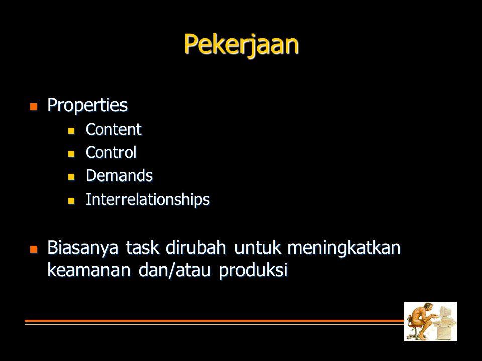 Pekerjaan  Properties  Content  Control  Demands  Interrelationships  Biasanya task dirubah untuk meningkatkan keamanan dan/atau produksi