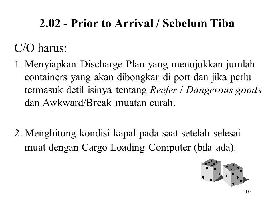 10 2.02 - Prior to Arrival / Sebelum Tiba C/O harus: 1.Menyiapkan Discharge Plan yang menujukkan jumlah containers yang akan dibongkar di port dan jik