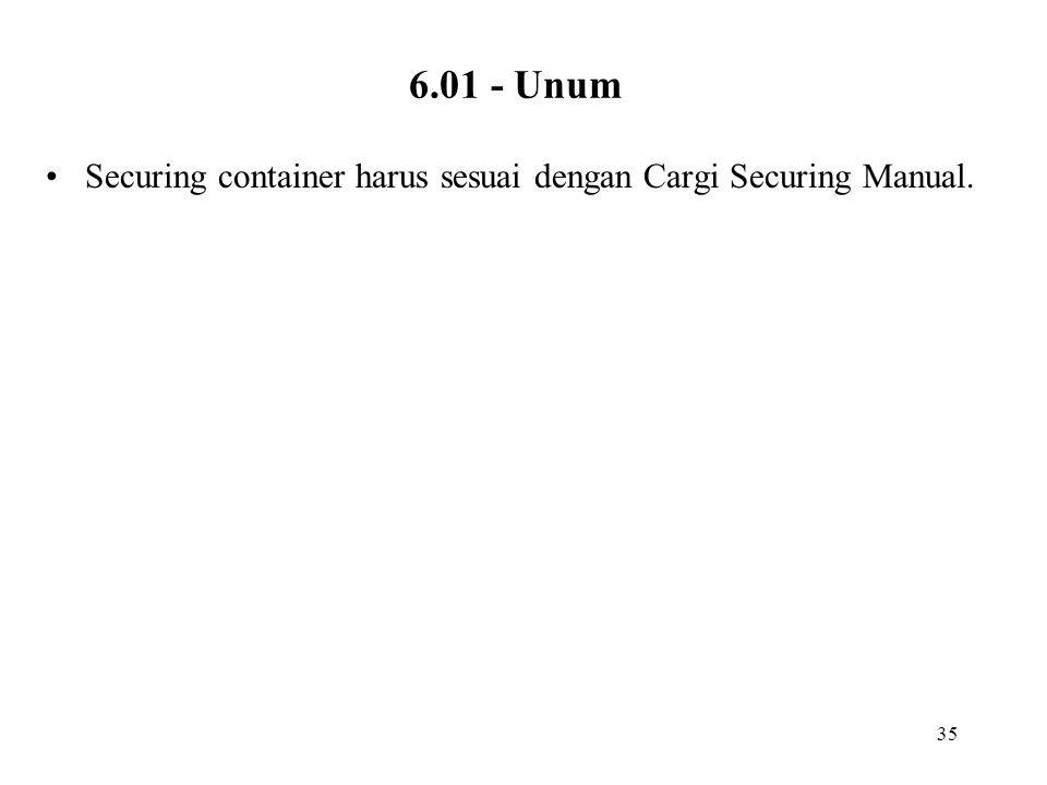 35 6.01 - Unum •Securing container harus sesuai dengan Cargi Securing Manual.