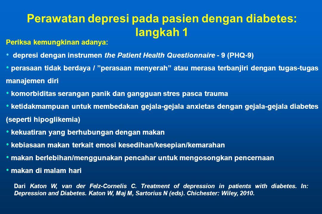 "Periksa kemungkinan adanya: • depresi dengan instrumen the Patient Health Questionnaire - 9 (PHQ-9) • perasaan tidak berdaya / ""perasaan menyerah"" ata"