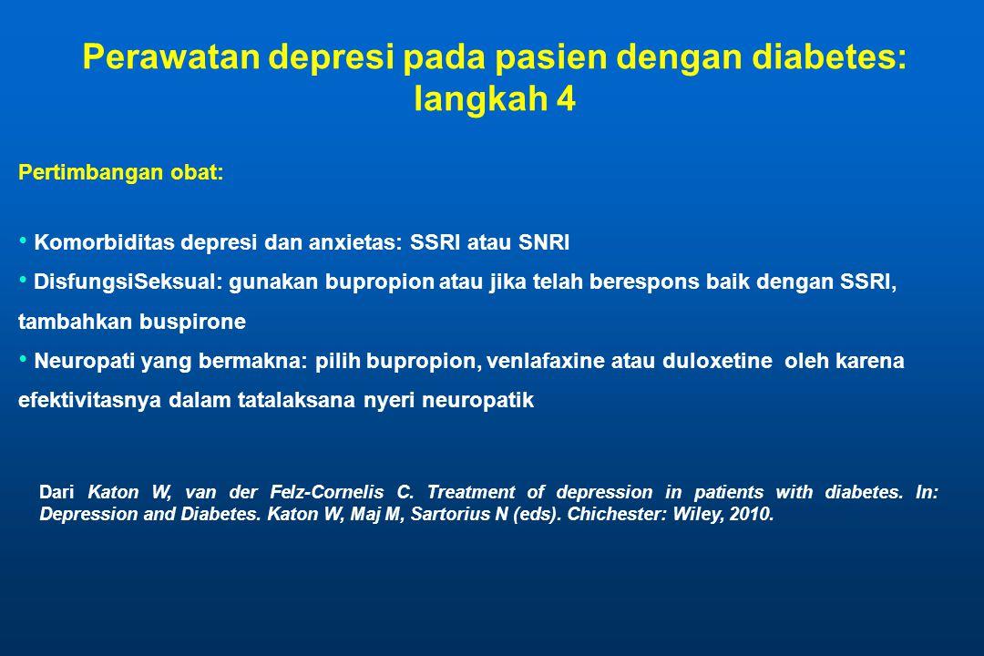 Pertimbangan obat: • Komorbiditas depresi dan anxietas: SSRI atau SNRI • DisfungsiSeksual: gunakan bupropion atau jika telah berespons baik dengan SSR