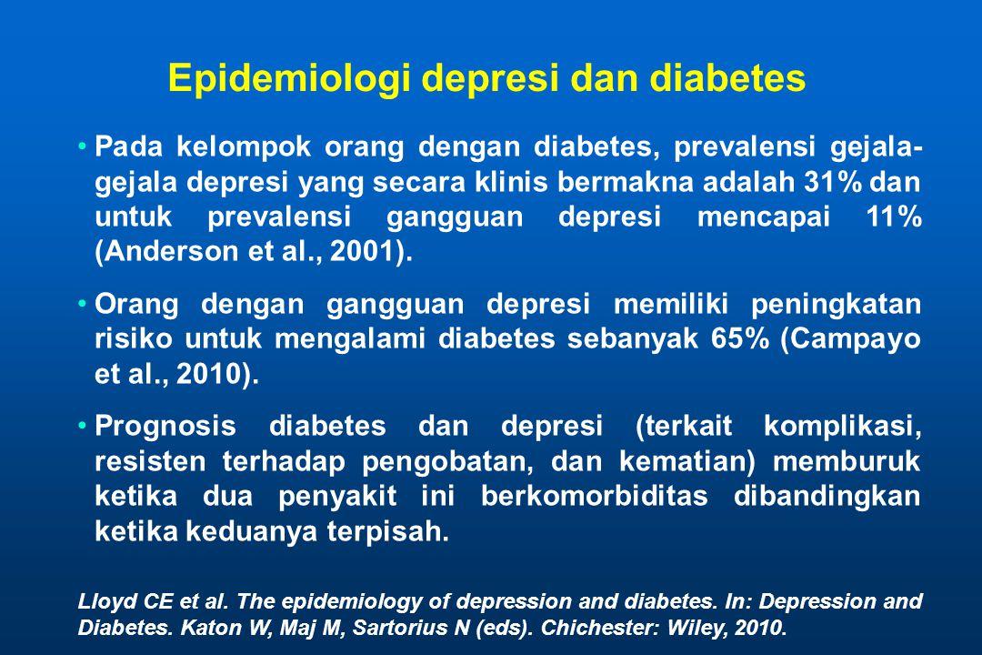 Epidemiologi depresi dan diabetes •Pada kelompok orang dengan diabetes, prevalensi gejala- gejala depresi yang secara klinis bermakna adalah 31% dan u
