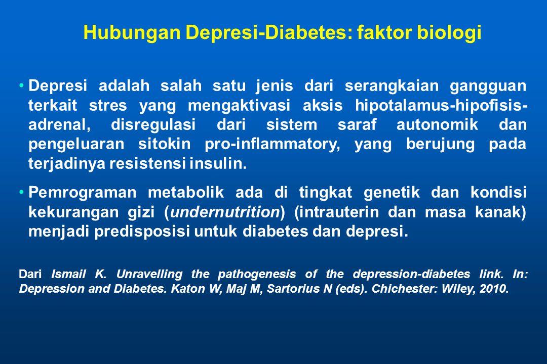 Hubungan Depresi-Diabetes: faktor biologi •Depresi adalah salah satu jenis dari serangkaian gangguan terkait stres yang mengaktivasi aksis hipotalamus