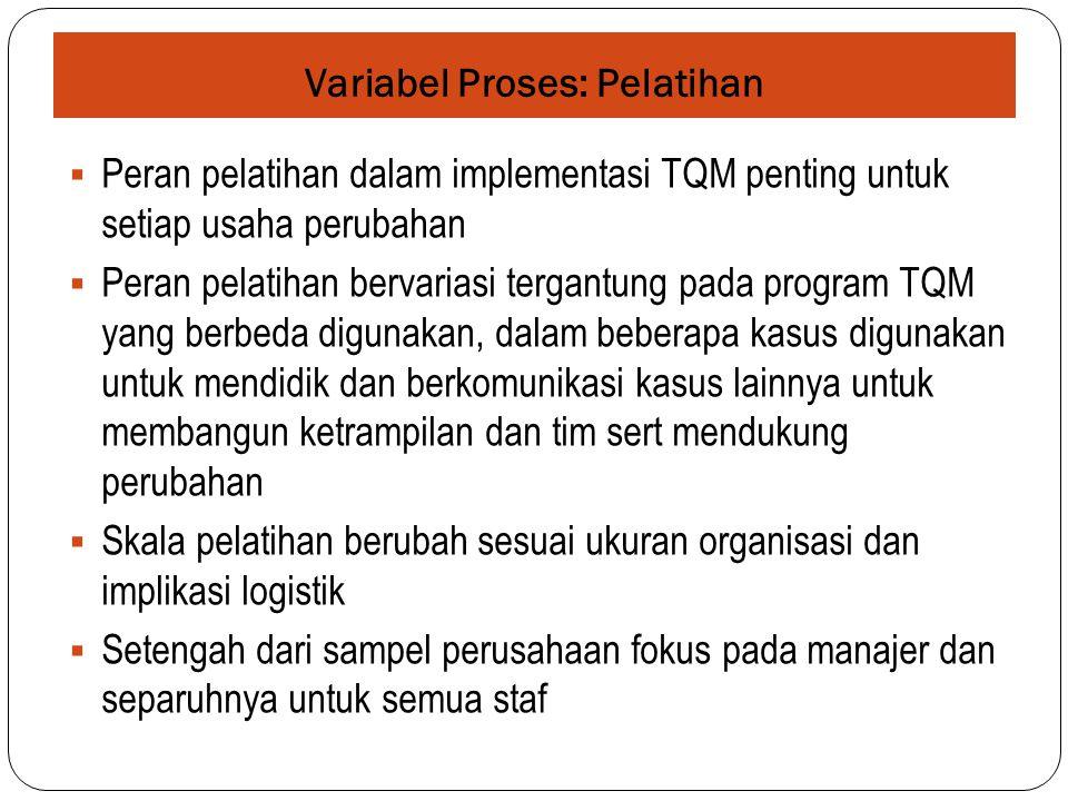 Variabel Proses: Pelatihan  Peran pelatihan dalam implementasi TQM penting untuk setiap usaha perubahan  Peran pelatihan bervariasi tergantung pada