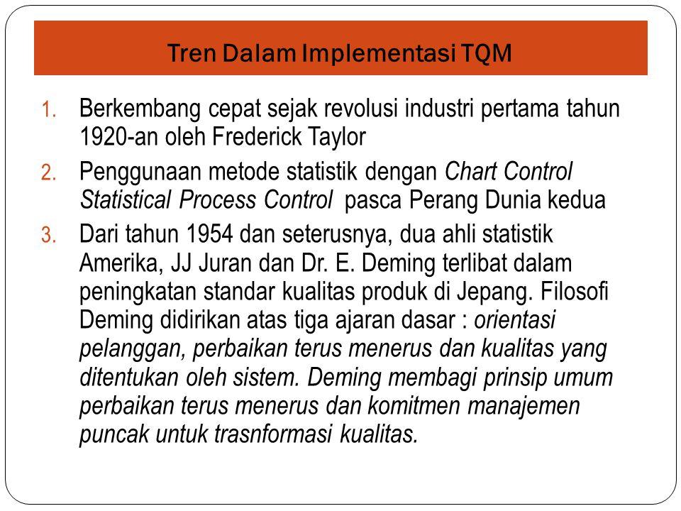 Tren Dalam Implementasi TQM 1. Berkembang cepat sejak revolusi industri pertama tahun 1920-an oleh Frederick Taylor 2. Penggunaan metode statistik den