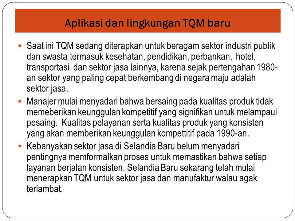 Aplikasi dan lingkungan TQM baru  Saat ini TQM sedang diterapkan untuk beragam sektor industri publik dan swasta termasuk kesehatan, pendidikan, perb