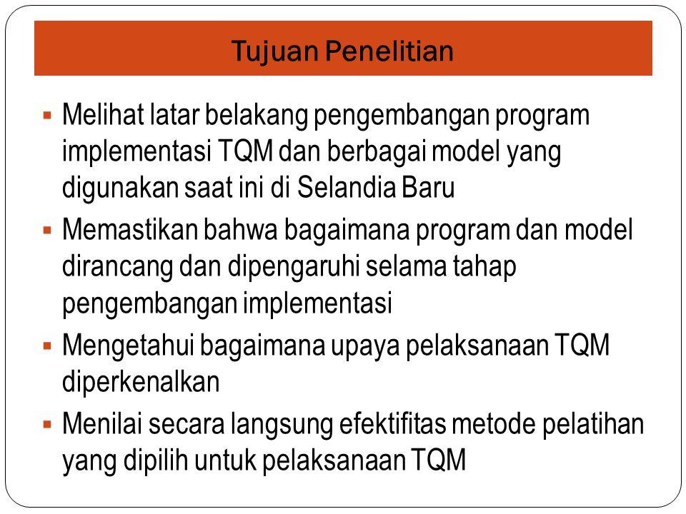 Tujuan Penelitian  Melihat latar belakang pengembangan program implementasi TQM dan berbagai model yang digunakan saat ini di Selandia Baru  Memastikan bahwa bagaimana program dan model dirancang dan dipengaruhi selama tahap pengembangan implementasi  Mengetahui bagaimana upaya pelaksanaan TQM diperkenalkan  Menilai secara langsung efektifitas metode pelatihan yang dipilih untuk pelaksanaan TQM