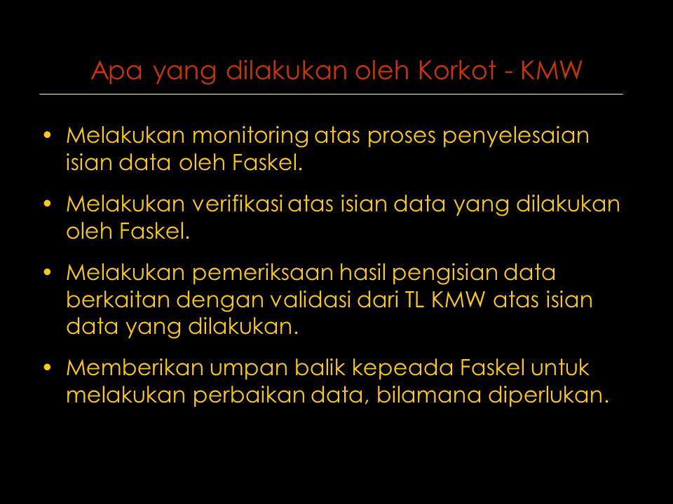 Apa yang dilakukan oleh Korkot - KMW •Melakukan monitoring atas proses penyelesaian isian data oleh Faskel.