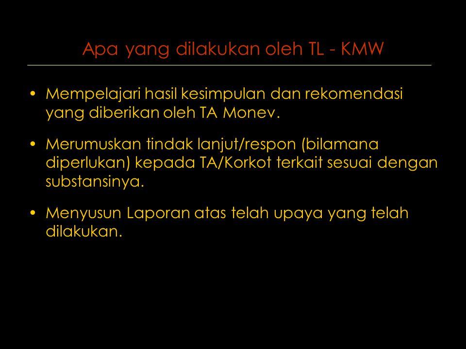 Apa yang dilakukan oleh TL - KMW •Mempelajari hasil kesimpulan dan rekomendasi yang diberikan oleh TA Monev.