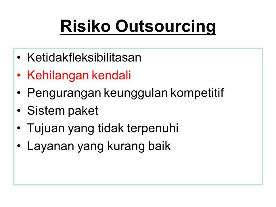 Risiko Outsourcing •Ketidakfleksibilitasan •Kehilangan kendali •Pengurangan keunggulan kompetitif •Sistem paket •Tujuan yang tidak terpenuhi •Layanan