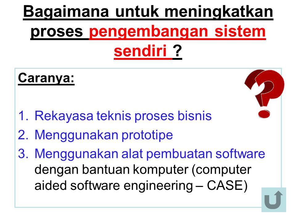 Bagaimana untuk meningkatkan proses pengembangan sistem sendiri ? Caranya: 1.Rekayasa teknis proses bisnis 2.Menggunakan prototipe 3.Menggunakan alat