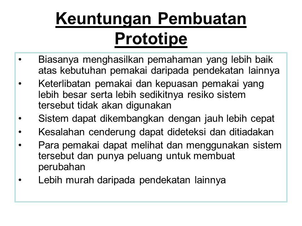 Keuntungan Pembuatan Prototipe •Biasanya menghasilkan pemahaman yang lebih baik atas kebutuhan pemakai daripada pendekatan lainnya •Keterlibatan pemak