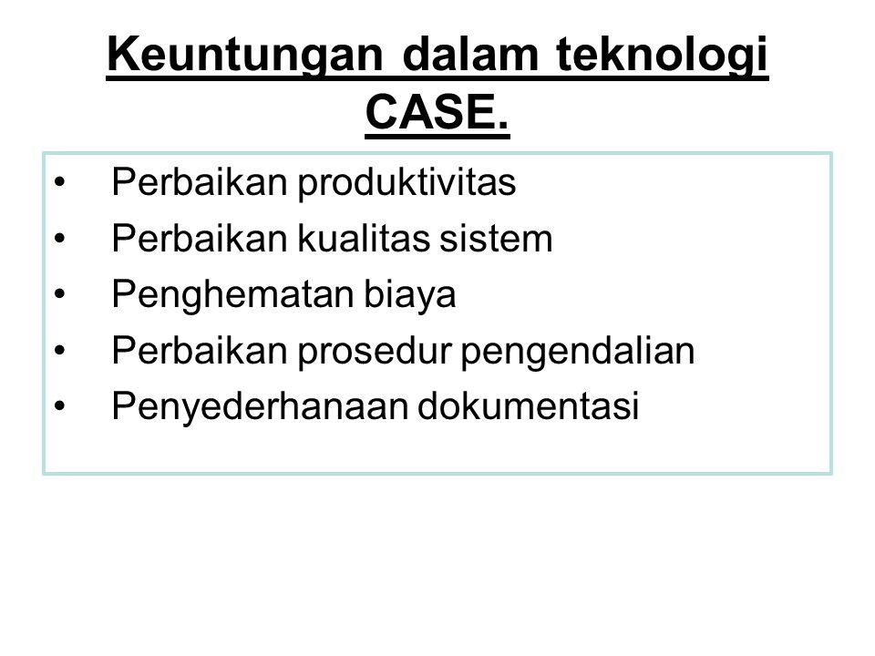 Keuntungan dalam teknologi CASE. •Perbaikan produktivitas •Perbaikan kualitas sistem •Penghematan biaya •Perbaikan prosedur pengendalian •Penyederhana