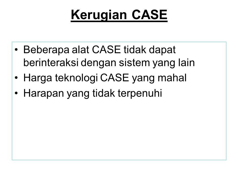 Kerugian CASE •Beberapa alat CASE tidak dapat berinteraksi dengan sistem yang lain •Harga teknologi CASE yang mahal •Harapan yang tidak terpenuhi