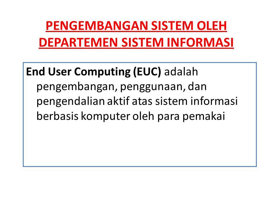 Manfaat dari End User Computing • Kreasi, pengendalian, dan implementasi oleh pemakai • Sistem yang memenuhi kebutuhan pemakai • Ketepatan waktu • Membebaskan sumber daya sistem • Kefleksibilitasan dan kemudahan penggunaan