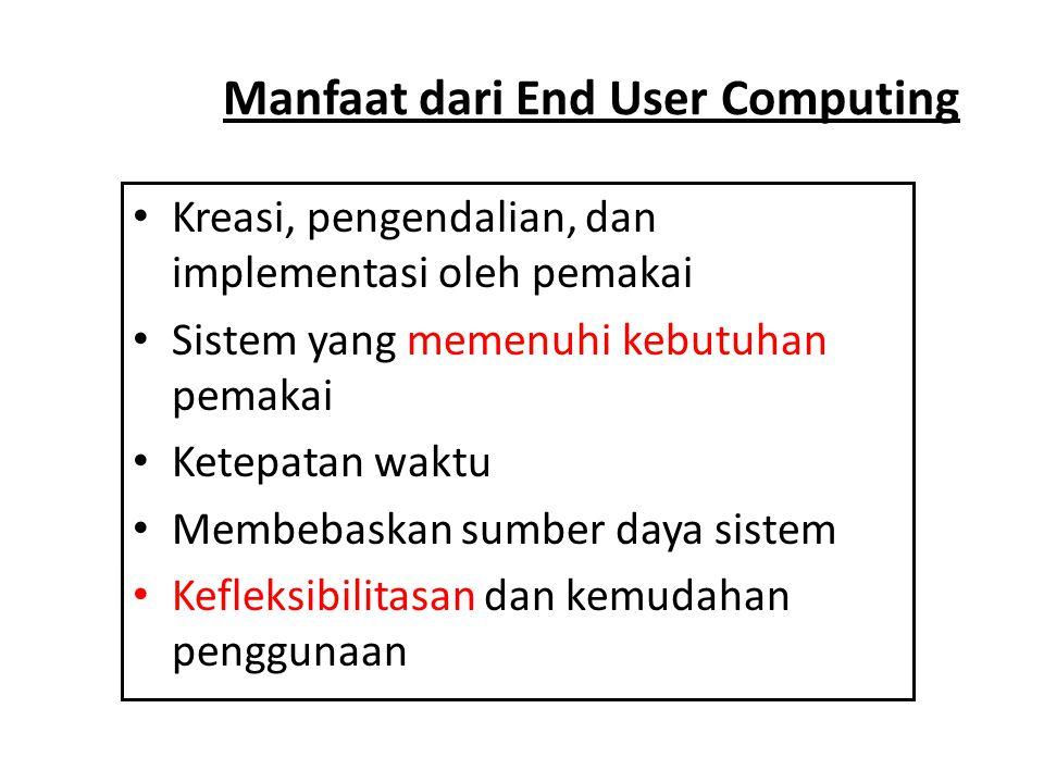 Risiko End User Computing • Kesalahan logika dan pengembangan • Pengujian aplikasi yang tidak memadai • Sistem yang tidak efisien • Sistem yang dikendalikan dan didokumentasikan dengan kurang baik • Ketidaksesuaian sistem • Duplikasi sistem dan data serta pemborosan sumber daya • Peningkatan biaya