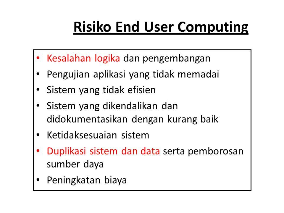 Risiko End User Computing • Kesalahan logika dan pengembangan • Pengujian aplikasi yang tidak memadai • Sistem yang tidak efisien • Sistem yang dikend