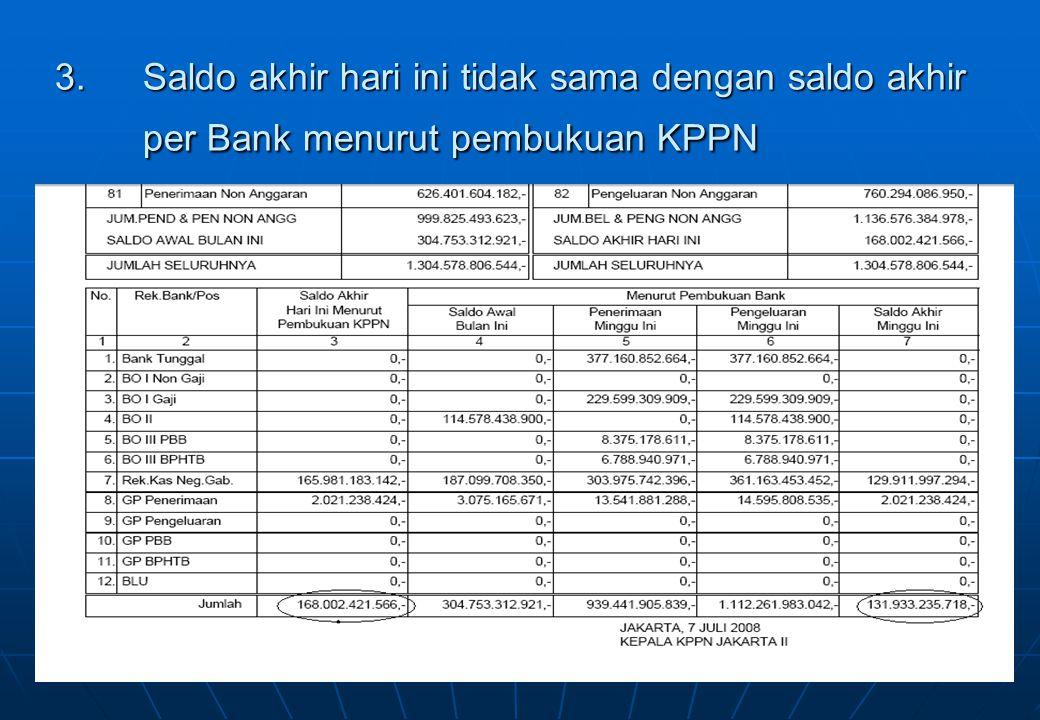3.Saldo akhir hari ini tidak sama dengan saldo akhir per Bank menurut pembukuan KPPN