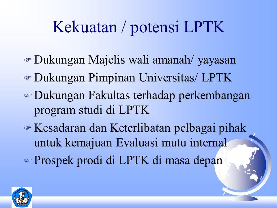Kekuatan / potensi LPTK F Dukungan Majelis wali amanah/ yayasan F Dukungan Pimpinan Universitas/ LPTK F Dukungan Fakultas terhadap perkembangan program studi di LPTK F Kesadaran dan Keterlibatan pelbagai pihak untuk kemajuan Evaluasi mutu internal F Prospek prodi di LPTK di masa depan