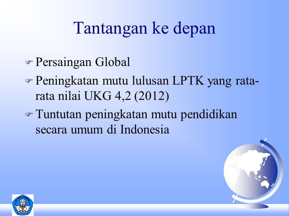 Tantangan ke depan F Persaingan Global F Peningkatan mutu lulusan LPTK yang rata- rata nilai UKG 4,2 (2012) F Tuntutan peningkatan mutu pendidikan secara umum di Indonesia