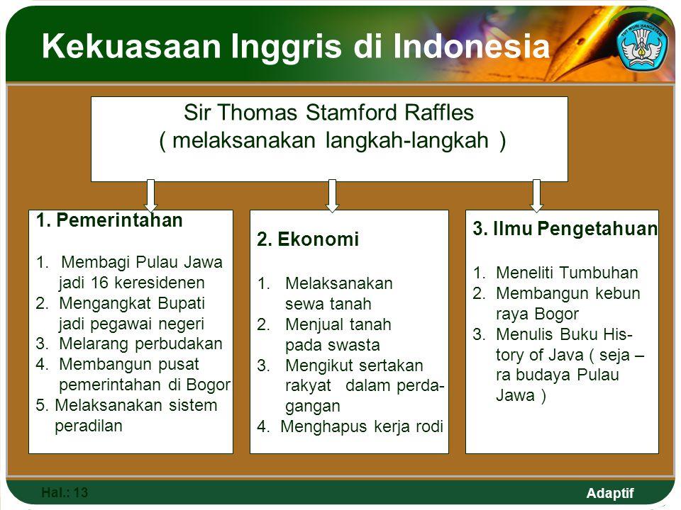 Adaptif Kekuasaan Inggris di Indonesia Hal.: 13 Sir Thomas Stamford Raffles ( melaksanakan langkah-langkah ) 1. Pemerintahan 1.Membagi Pulau Jawa jadi
