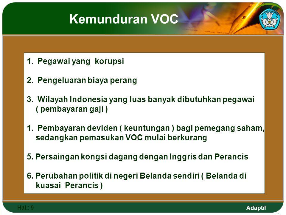 Adaptif Kemunduran VOC Hal.: 9 1.Pegawai yang korupsi 2.Pengeluaran biaya perang 3.Wilayah Indonesia yang luas banyak dibutuhkan pegawai ( pembayaran gaji ) 1.Pembayaran deviden ( keuntungan ) bagi pemegang saham, sedangkan pemasukan VOC mulai berkurang 5.