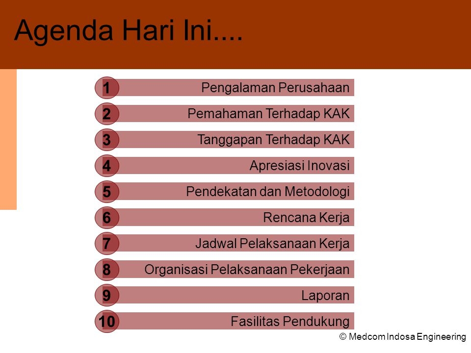 © Medcom Indosa Engineering Pengalaman Perusahaan 1 Pemahaman Terhadap KAK 2 Tanggapan Terhadap KAK 3 Apresiasi Inovasi 4 Pendekatan dan Metodologi 5 Rencana Kerja 6 Jadwal Pelaksanaan Kerja 7 Organisasi Pelaksanaan Pekerjaan 8 Laporan 9 Fasilitas Pendukung 10