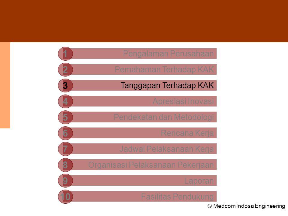 © Medcom Indosa Engineering Struktur Basis Data •Central Multidimensional Database System – merupakan sistem basis data utama terpusat yang merupakan lokasi penyimpanan seluruh data dan informasi yang dimiliki oleh Departemen Perhubungan; •Metadata and Intregration Database System – merupakan kumpulan dari berbagai sistem basis data tempat penyimpanan sejumlah data dan informasi yang berasal dari unit-unit kerja daerah.