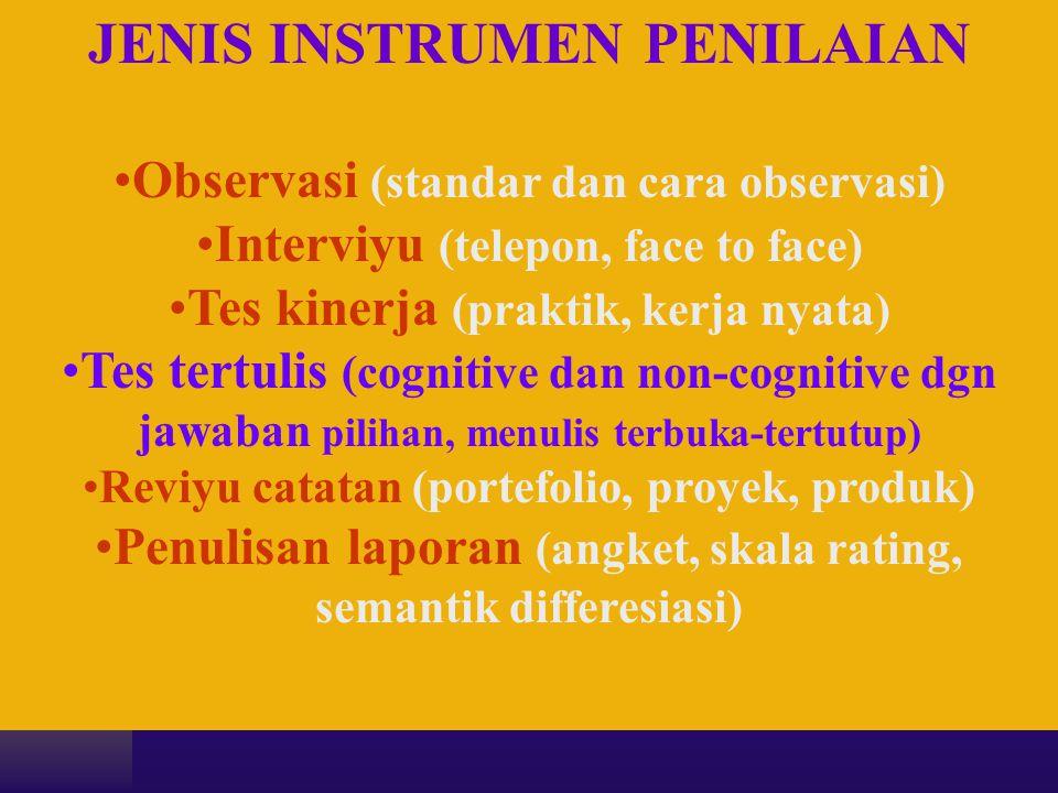 JENIS INSTRUMEN PENILAIAN •Observasi (standar dan cara observasi) •Interviyu (telepon, face to face) •Tes kinerja (praktik, kerja nyata) •Tes tertulis