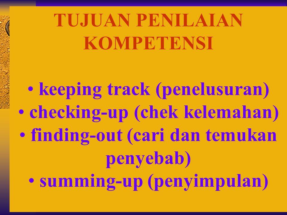 TUJUAN PENILAIAN KOMPETENSI • keeping track (penelusuran) • checking-up (chek kelemahan) • finding-out (cari dan temukan penyebab) • summing-up (penyi