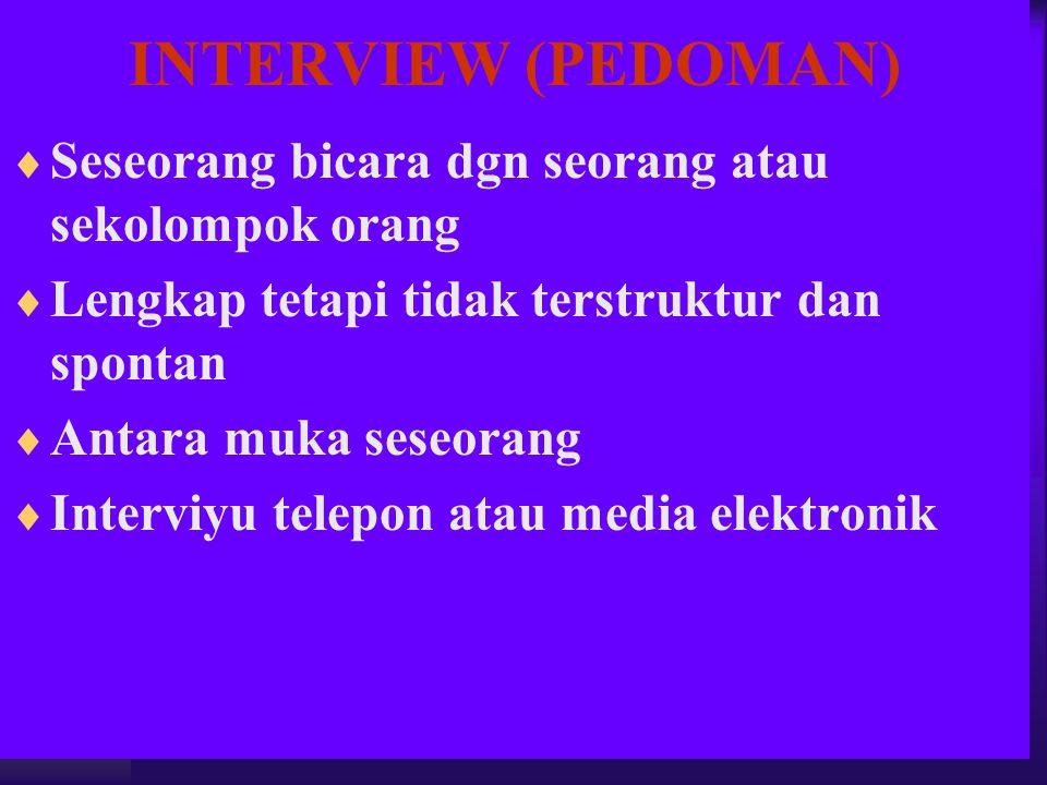 INTERVIEW (PEDOMAN)  Seseorang bicara dgn seorang atau sekolompok orang  Lengkap tetapi tidak terstruktur dan spontan  Antara muka seseorang  Inte