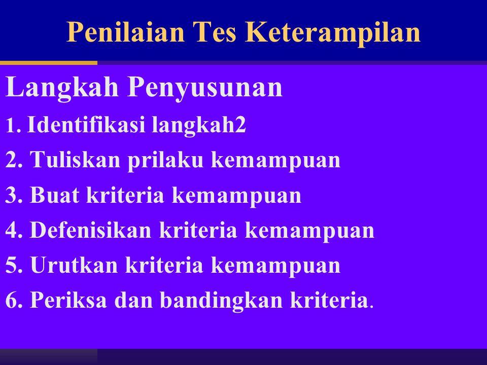 Penilaian Tes Keterampilan Langkah Penyusunan 1. Identifikasi langkah2 2. Tuliskan prilaku kemampuan 3. Buat kriteria kemampuan 4. Defenisikan kriteri